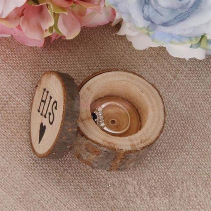 2 Stks/set Bruiloft Vintage Hout Ring Box Rustieke Decor Houten Ring Holder Voor Engagement Anniversery Event Sieraden Box Craft