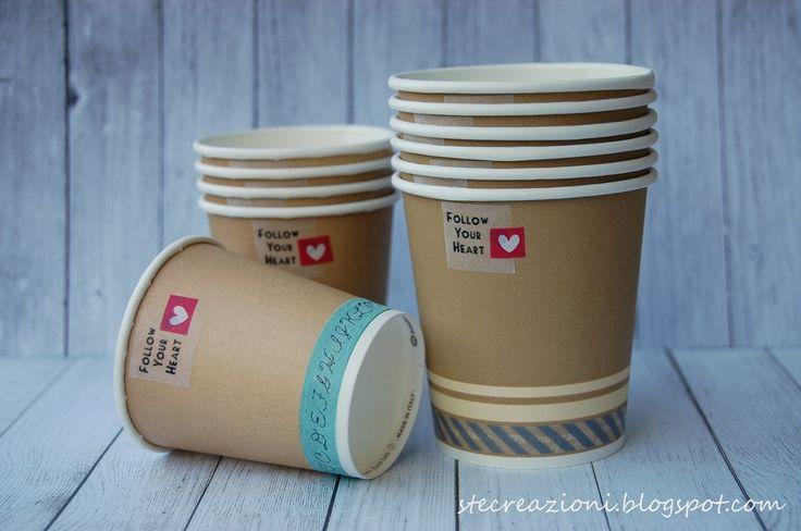 Bicchieri di carta decorati con washi tape