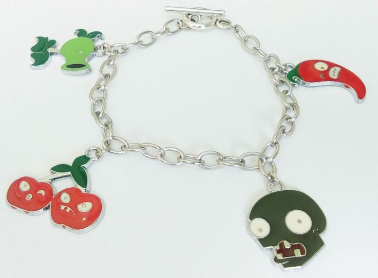 Zombie vs plants cute funny halloween videogame jewelry charms chain Bracelet #Handmade #Chain