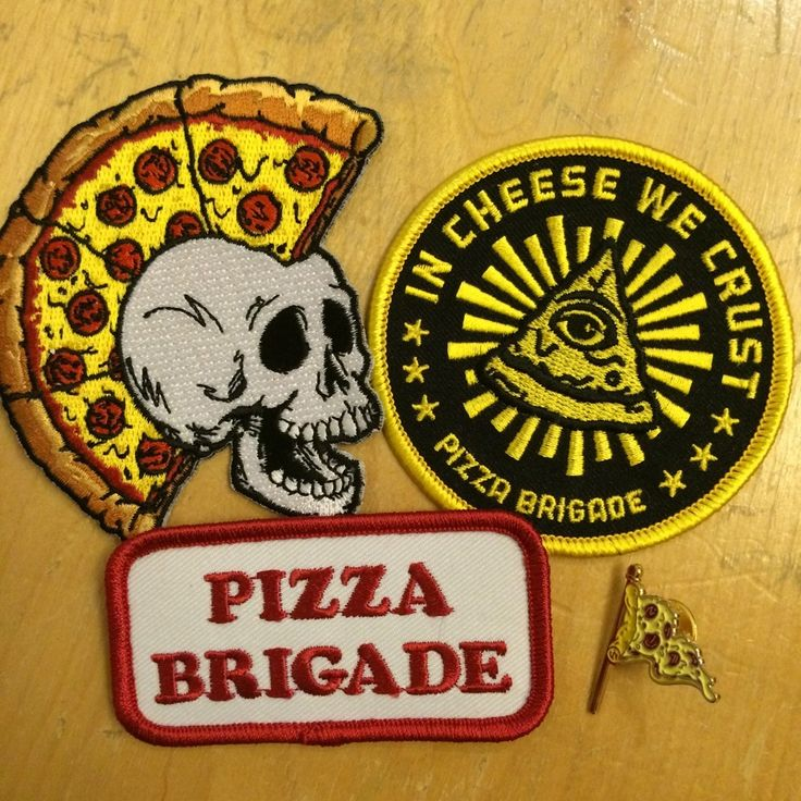 "Get the whole set of patches and pin and save yourself some dough in the process! CRUST PUNK patch is 3"" x 1.5"" with heat seal back.DELIVERY BOY patch is 3.5"" diameter with heat seal back.IN CHEESE WE CRUST PATCH is 3"" diameter with heat seal back. PIZZA PENNANT PIN is a 1"" soft enamel pin with butterfly clutch closure."
