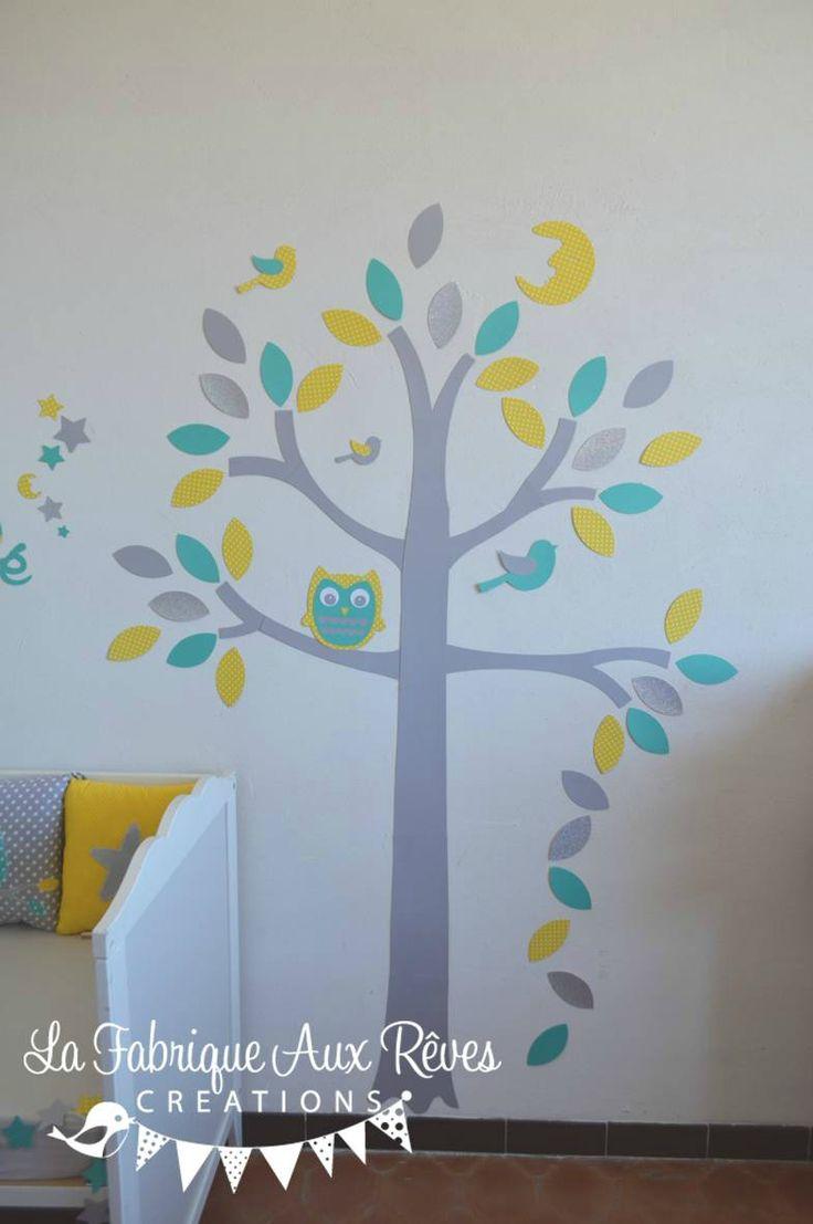 stickers arbe lune hibou étoiles jaune soleil turquoise gris argent - décoration chambre bébé jaune turquoise gris argent lune hibou étoile