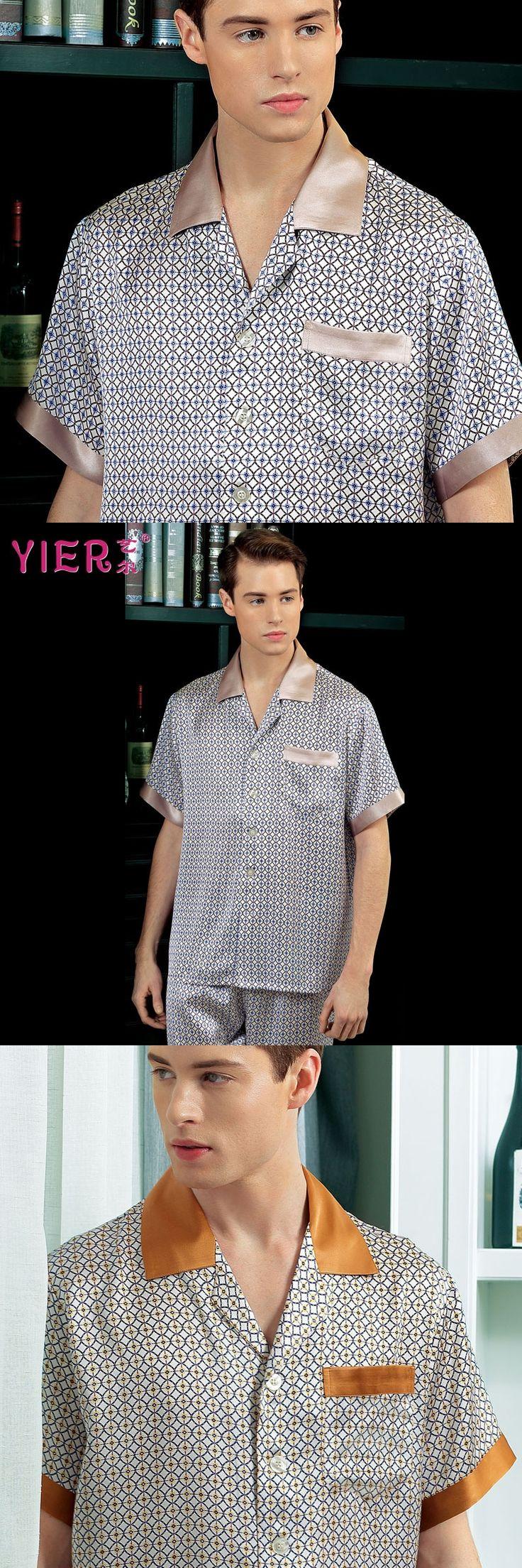 1701 YIER Brand Summer 100% Silk Pajama Sets Men Short Sleeves luxury Noble Sexy Male Sleepwear Pijamas Free Shipping