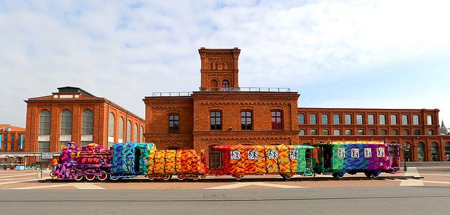 Olek Crochets an Entire Four-Car Locomotive in Lodz, Poland