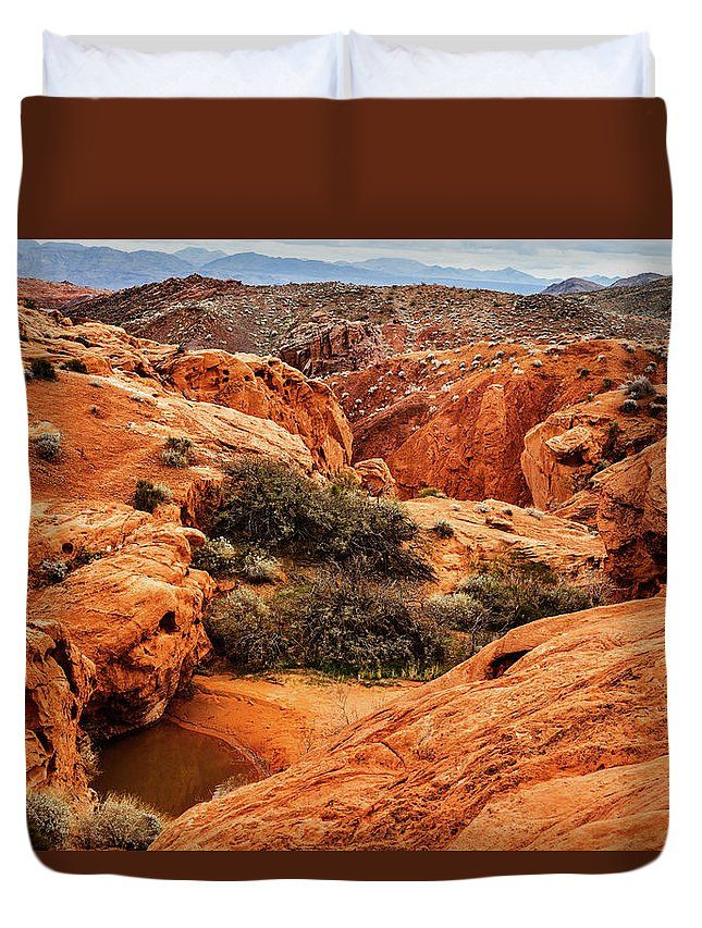 Duvet Cover featuring the photograph Existance by Evgeniya Lystsova. Scenic Landscape of desert at Valley of Fire State Park, southern Nevada, USA. Make your Bedroom special with stylish art products you choose! Our soft microfiber duvet covers are hand sewn and include a hidden zipper for easy washing and assembly. Your selected image is printed on the top surface with a soft white surface underneath. SHIPS WITHIN 3-4 business days!