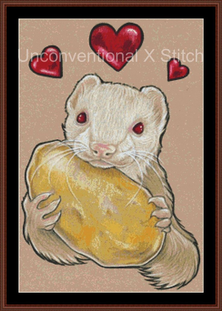 Ferret with a potato cross stitch pattern - modern counted cross stitch - Licensed Natalie Ewert by UnconventionalX on Etsy