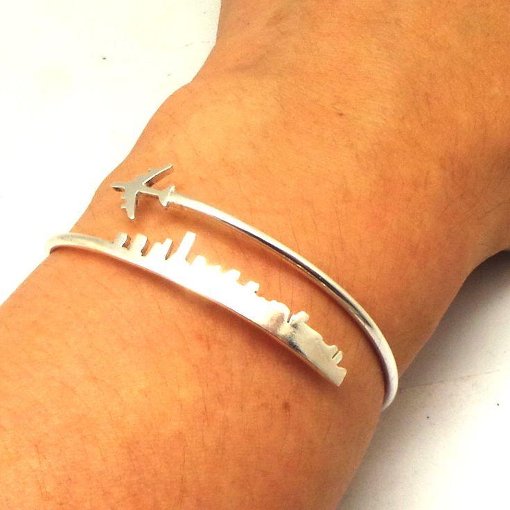 Personalized Plane Miami Skyline Bracelet - Plane Jewelry, Silver Long Distance Relationship Friendship Bracelet, Travel Jewelry