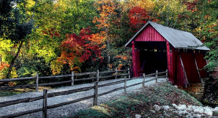 Campbell's Covered Bridge is gorgeous this time of year. // yeahTHATgreenville