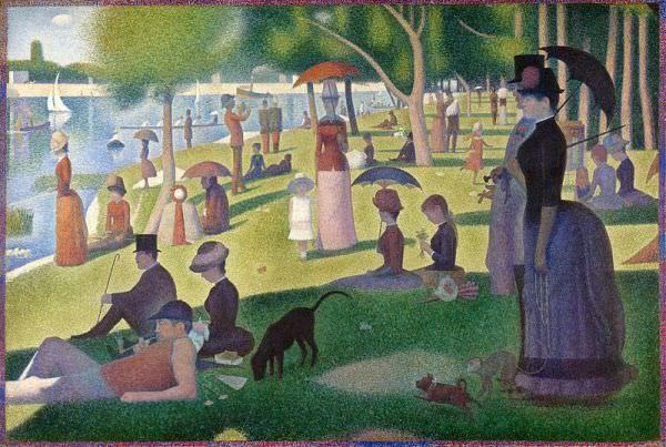 Reproduction de Georges Seurat, Un dimanche après-midi à l'Île de la Grande Jatte. Tableau peint à la main dans nos ateliers. Peinture à l'huile sur toile.