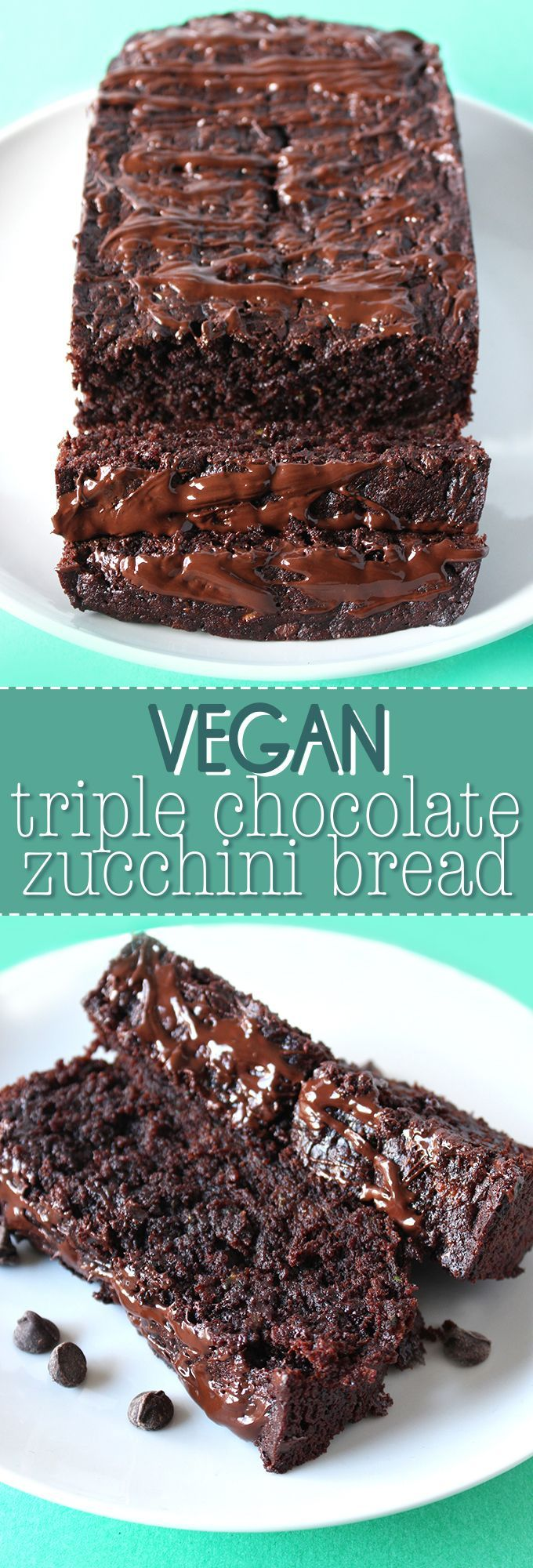 This is the chocolate lovers ultimate dream! This VEGAN triple chocolate  zucchini bread is ultra