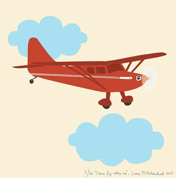 "Signert barneromsbilde / signed poster  - ""Come fly with me"""