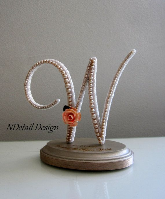 cake topper letter w with white lace ivory pearls by ndetaildesign 10599