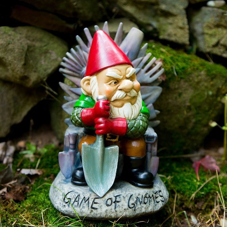 Our Game Of Gnomes Gnome is a must for any Game of Thrones fanatic!      Designed to mimic the seat of kings in the Seven Kingdoms... This Lord of the Seven Gardens' throne is hilariously made from the garden rakes, spading forks, and hoes surrendered from his enemies.