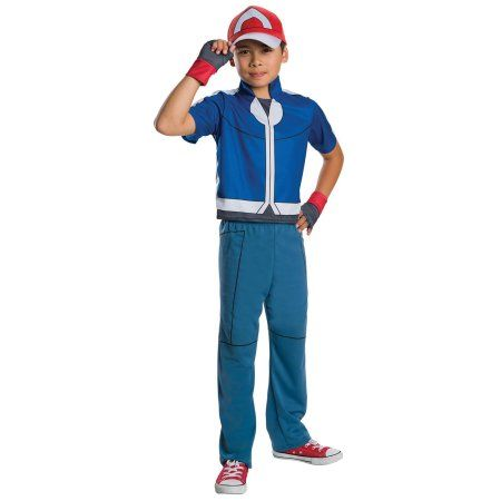 Pokemon - Ash Ketchum Child Costume - Medium, Boy's, Blue