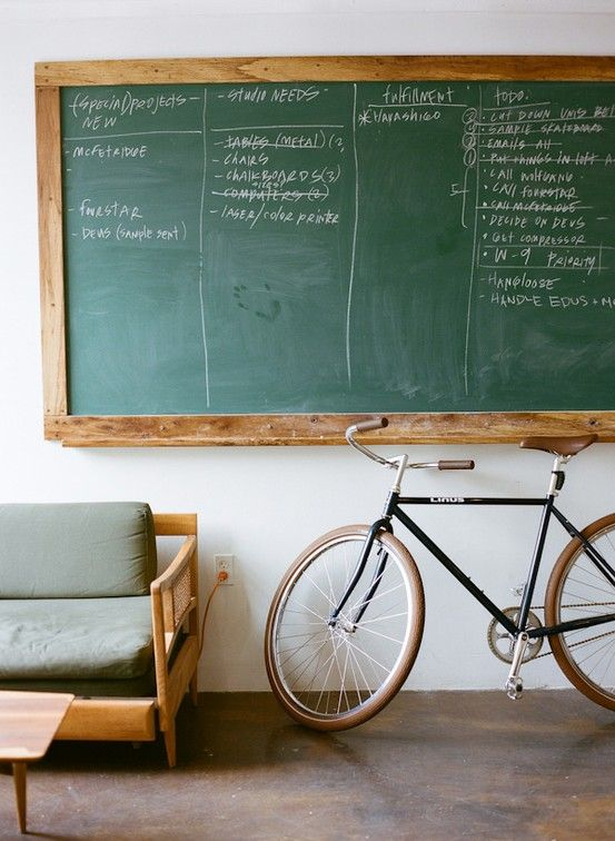 I really do enjoy classic American green chalkboards. It would make an awesome to-do list board.