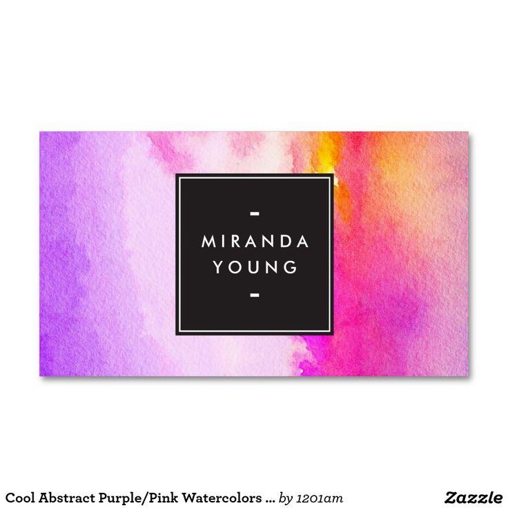 モダンな涼しく抽象的な紫色かピンクの水彩画 スタンダード名刺