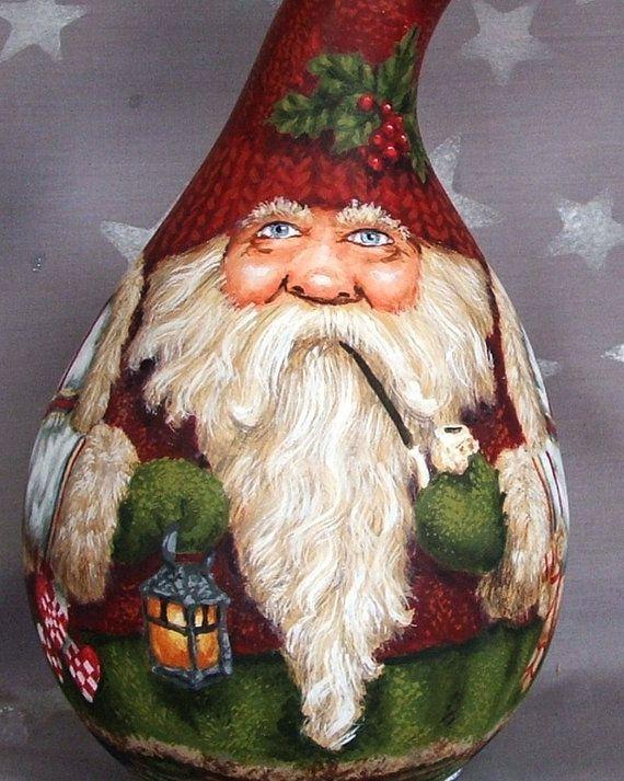 Sueco Jul mano calabaza pintada Santa Claus por SuzysSantasetc                                                                                                                                                                                 Más