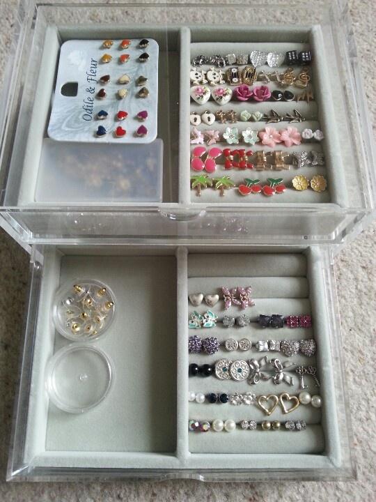 Clear acrylic storage from Muji.