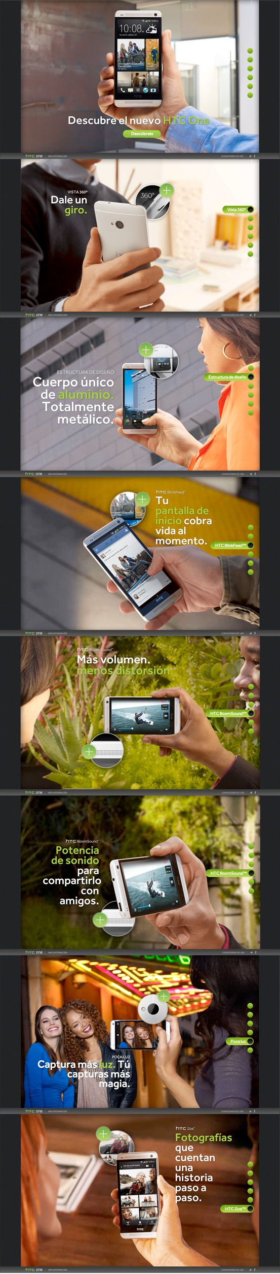 Experience the new HTC One #webdesign #inspiration #UI #Big Background Images #Infinite Scroll #HTML5 #Unusual Navigation #Design #Parallax #Black #White #Green