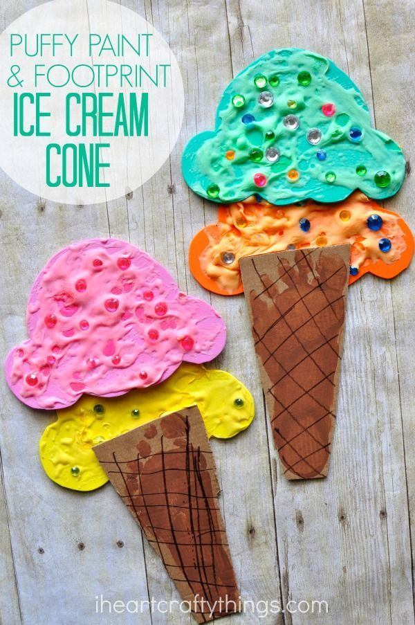 puffy paint and footprint ice cream cone craft summer kid - Summer Pictures For Kids