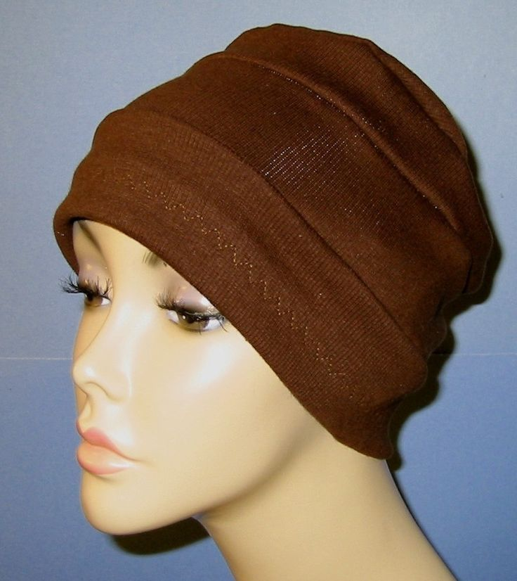 3-Band Brown Knit Chemo, Cancer, Alopecia Hat, Hair loss, Alopecia. $12.00, via Etsy.