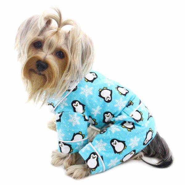Penguins and Snowflakes Flannel Dog Pajamas by Klippo - Turquoise at BaxterBoo