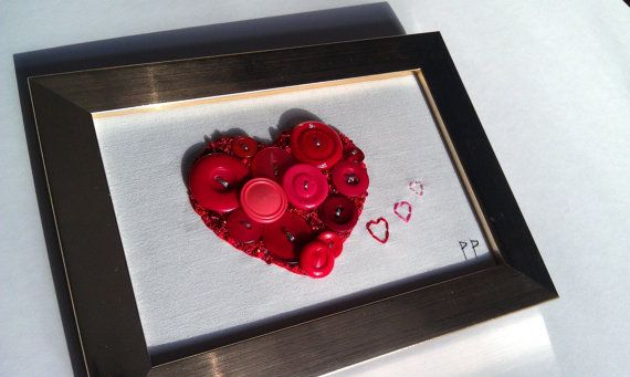 Red Button Heart handmade anniversary present by PatricksPieces
