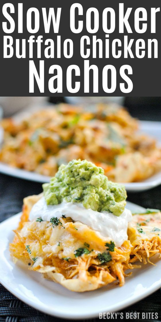 Slow Cooker Buffalo Chicken Nachos A quick and easy appetizer or party snack! Make it into a weeknight meal by ditching the chips and serving over rice, on a pizza or in lettuce wraps. http://www.beckysbestbites.com/slow-cooker-buffalo-chicken-nachos/?utm_campaign=coschedule&utm_source=pinterest&utm_medium=Becky%27s%20Best%20Bites&utm_content=Slow%20Cooker%20Buffalo%20Chicken%20Nachos #gameday #yummyfood