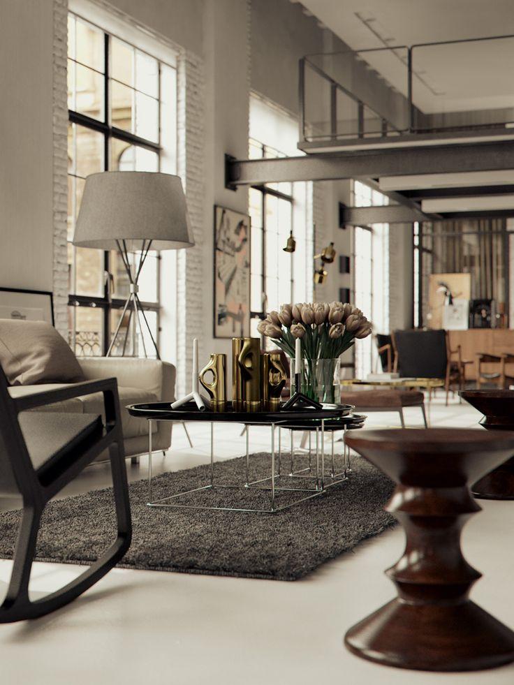 Living Room: Spaces, Modern Living Rooms, Brick Wall, Beams, Interiors Design, Loft, Colors Schemes, Modern Rustic Interiors, Modern Interiors