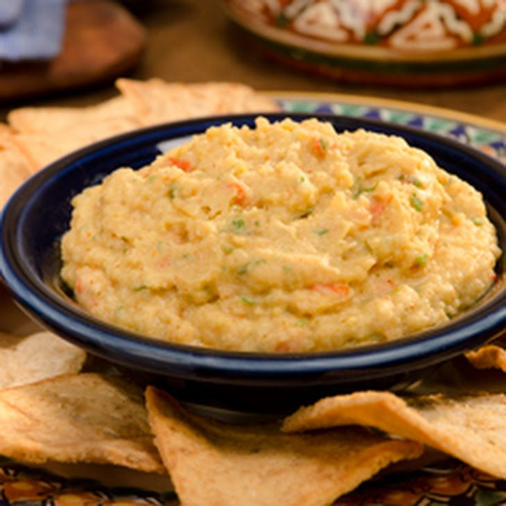 Mexican Chipotle Hummus Recipe Appetizers with Knorr® Vegetable recipe mix, chickpeas, chopped cilantro fresh, lime juice, ground chipotle chile pepper
