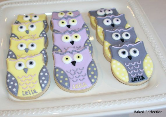 Baby Owls in Lavender, Yellow and Gray Hand Decorated Sugar Cookies for Baby Shower, New Baby Gift via Etsy