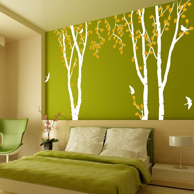 wallsticker birch: Flying Birds, Beds Rooms, My Rooms, Wallstick Birches, Green Wall, Wall Decal, Low Beds, Baby Rooms, Bedrooms Ideas