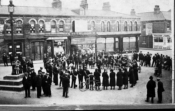 The Salvation Army Band around the Five Lamps in the 1930s. Thornaby on Tees