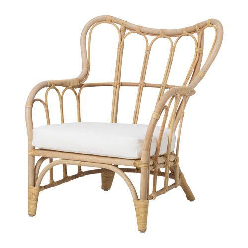 IKEA - MASTHOLMEN, Lænestol, ude, , Håndlavet af en dygtig håndværker.Stolen kan stables, sparer plads når den ikke er i brug.Møbler fremstillet af naturfibre er lette, solide og holdbare.Plastfødder beskytter møblerne, når de er i kontakt med et fugtigt underlag.Puden holder længe, fordi den kan vendes og bruges på begge sider.Gi'r god komfort takket være fyldet af højspændstigt skum.Fyldet er beskyttet mod fugt, fordi betrækket har vandafvisende for.Pudebetrækket er nemt at holde rent og…