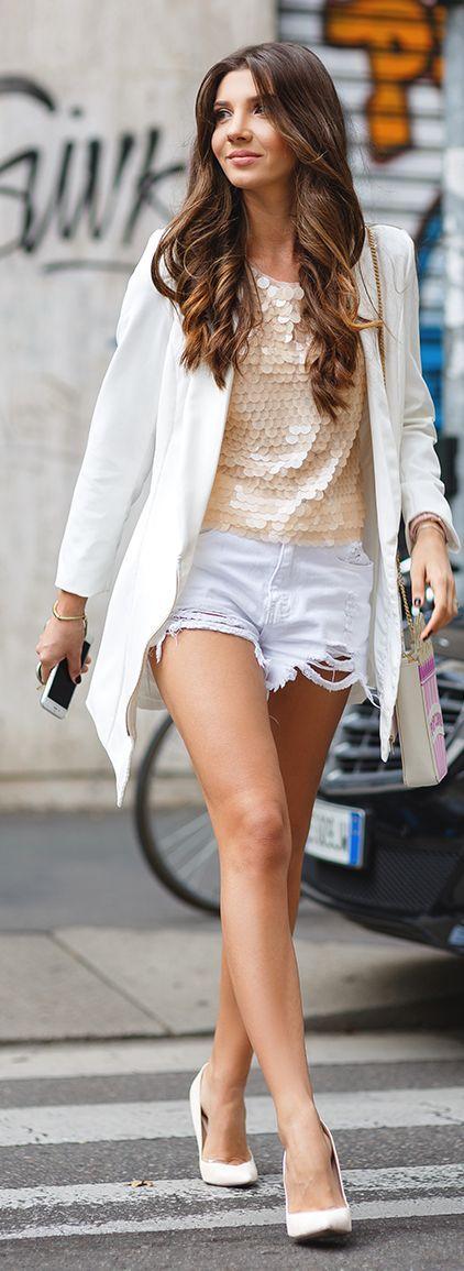The Mysterious Girl Beige Sequins On White Denim Fall Inspo