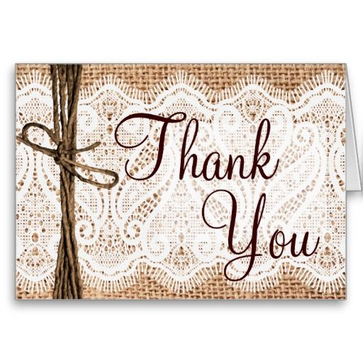 Burlap Lace Rustic Wedding Thank You Cards In 2018 Rustic Country