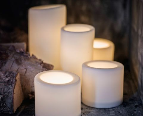 Battery-operated outdoor block candles in three different sizes. Set of 3 $14.99