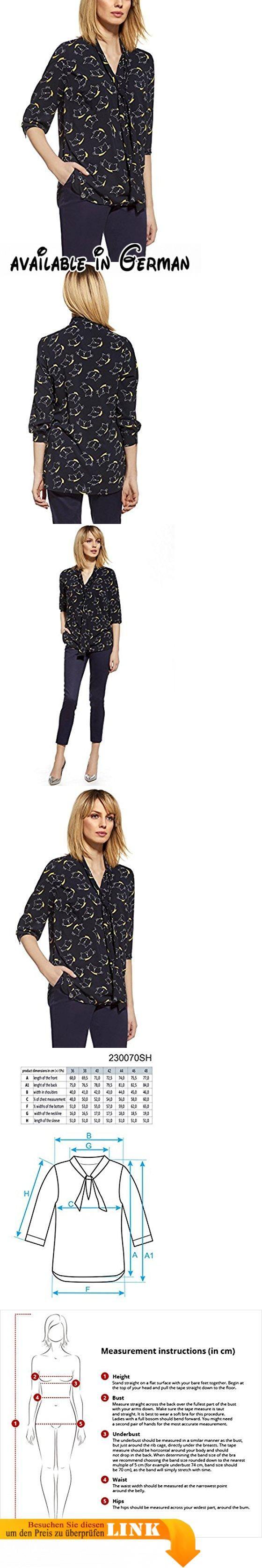 Ennywear 230070 Bluse Dame Hemd Gemustert Stehkragen V-Ausschnitt 3/4Arm EU, dunkelblau,42. Lässige Bluse mit länger geschnittenem Rückenteil. Loser Schnitt, versteckt Unvollkommenheiten der Silhouette. Leicht durchsichtig, Ärmel mit Manschetten versehen. Mit modischem Druck und Bindeband am Ausschnitt. Lässt sich mit Röhrenjeans und High-Heels sehr gut kombinieren #Apparel #SHIRT
