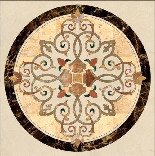 stone floor medallion , marble inlay ,stone water jet pattern, stone inlay…