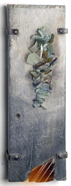 """Box Wall Sculpture,"" by Helen Nock (U.K.), slate, sea glass and wrought iron."
