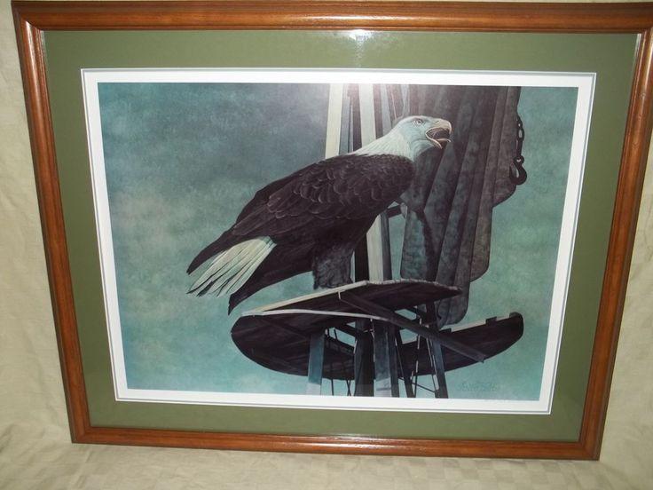 1976 Chester Fields Eagle Print Signed # 225 / 275 Matted & Framed  #Realism #ChesterFields #EaglePrint #Signed #Numbered #Framed #Eagle #BaldEagle