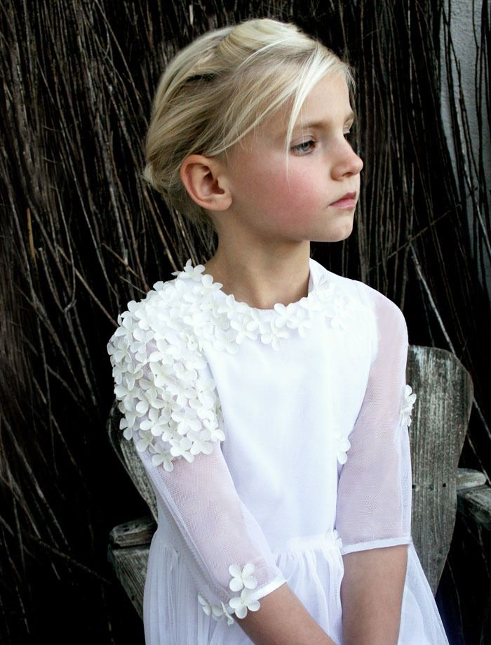 Spring Tulle with Flowers Girls Communion Dress