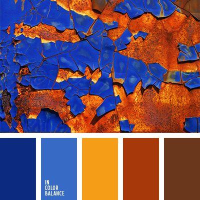 Los colores anaranjado ladrillo y azul oscuro se eqilibran uno al otro, creando una combinación viva y muy original. Dicha gama de color está llena de optimismo, amigabilidad y solidez. Puede ser usada para decorar una sala de negociaciones o una oficina ya que favorece la comunicación.