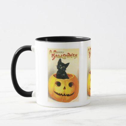 Vintage Halloween black cat pumpkin mug | Zazzle.com