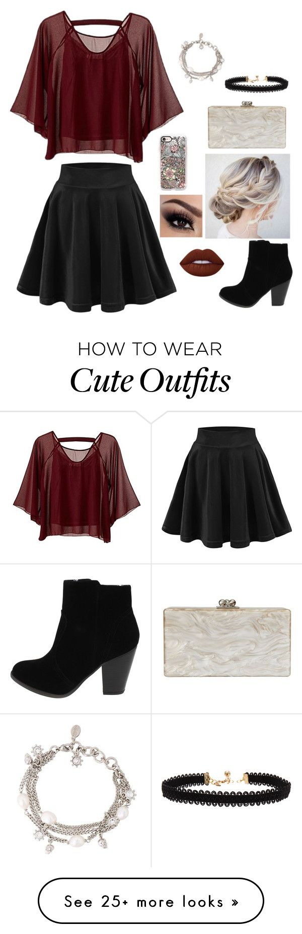 """Fun Night Out At A Party With Friends!! (With A cute Outfit!)"" by graciesmiles1324 on Polyvore featuring Traffic People, Lime Crime, Casetify, Vanessa Mooney, Alexander McQueen and Edie Parker"