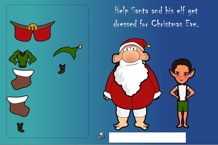 A simple activity to dress Santa and his elf. Drag the clothes across to the correct places, discussing size and position.
