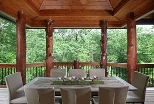 Craftsman Porch with Porter upholstered chair, Pathway, Outdoor dining set, Burnt grey coastal rectangle dining table