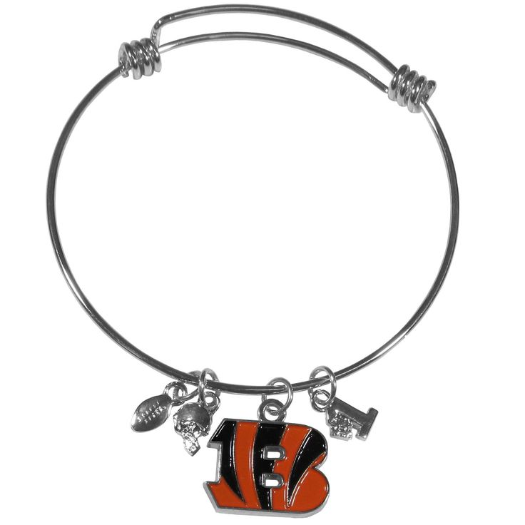 """Checkout our #LicensedGear products FREE SHIPPING + 10% OFF Coupon Code """"Official"""" Cincinnati Bengals Charm Bangle Bracelet - Officially licensed NFL product Licensee: Siskiyou Buckle Adjustable wire bracelets 3 football themed charms and a high polish team charm One of the most popular new bracelet styles Perfect gift for a Cincinnati Bengals fan - Price: $17.00. Buy now at https://officiallylicensedgear.com/cincinnati-bengals-charm-bangle-bracelet-fcbb010"""