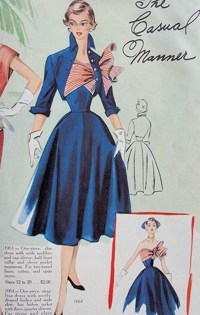 1950s DRAMATIC STRAPLESS EVENING COCKTAIL DRESS,BOLERO JACKET PATTERN BEAUTIFUL DRAPED BODICE, FULL SKIRT, PERKY JACKET MODES ROYALE 1064 PATTERNS