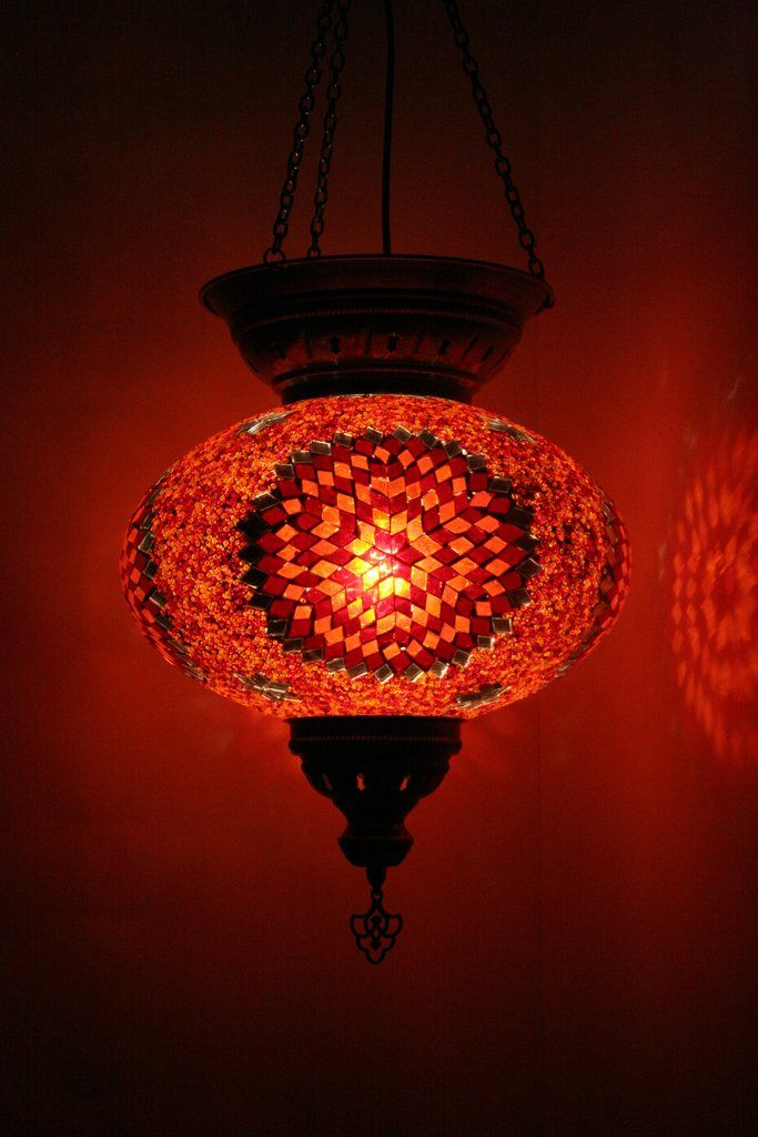 Orange toned large Turkish glass lamp. Extra large size. Hand crafted withglass mosaic tiles and beads. Handmade in Istanbul. Metal attachments give an aged ef