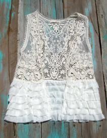 Southern Vest Crochet and ruffle detailed vest $27.99